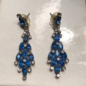 Faux Blue/Sapphire color Crystal pierced earrings